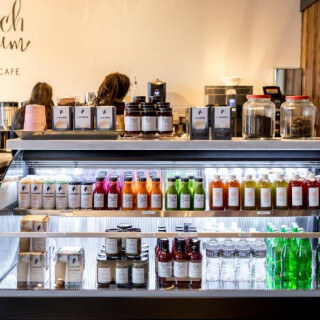 beach plum farm bakery and cafe cooler with juices water and sodas