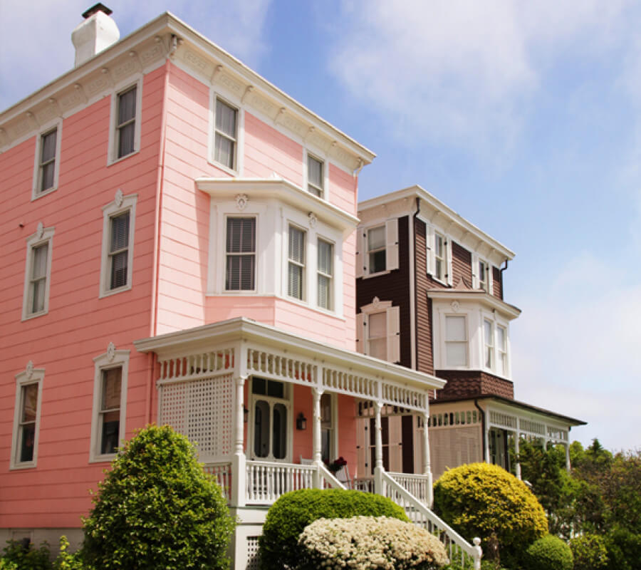 pink and brown houses