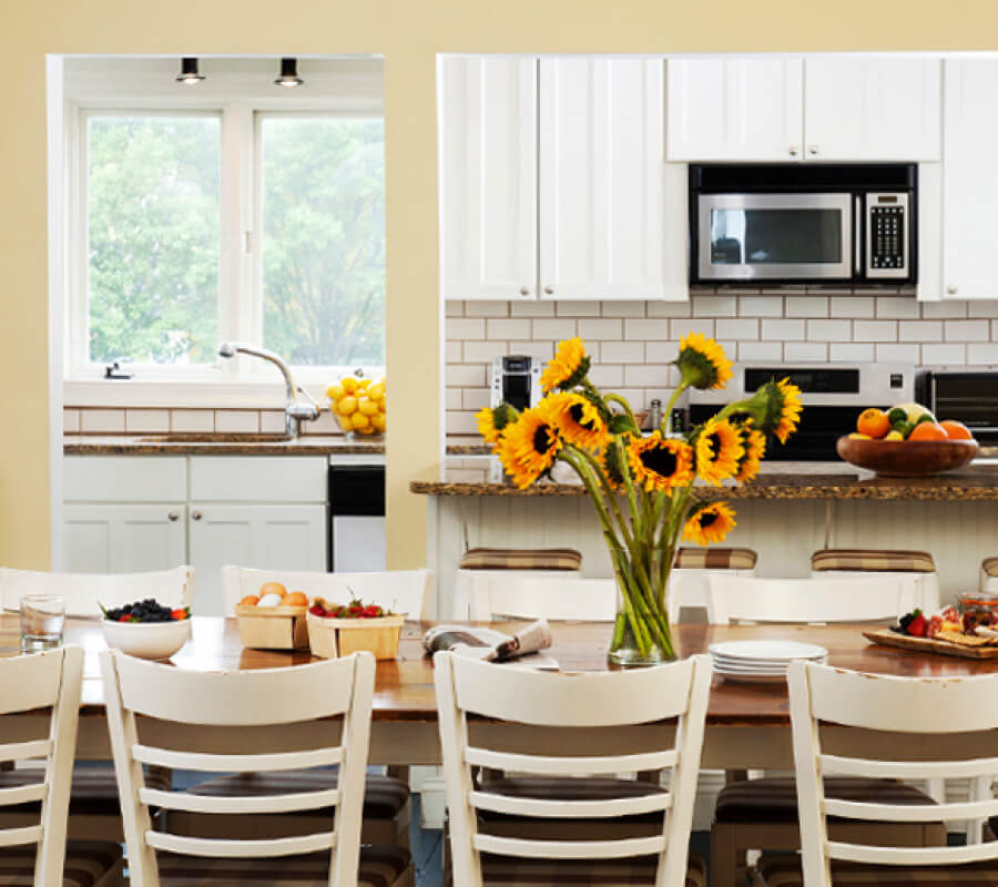 kitchen with island and sunflowers