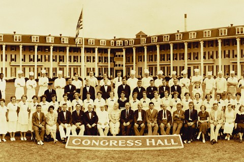 historic photo of congress hall staff posed for picture
