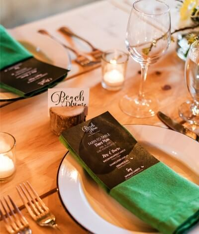 table setting of beach plum farm spring dinner