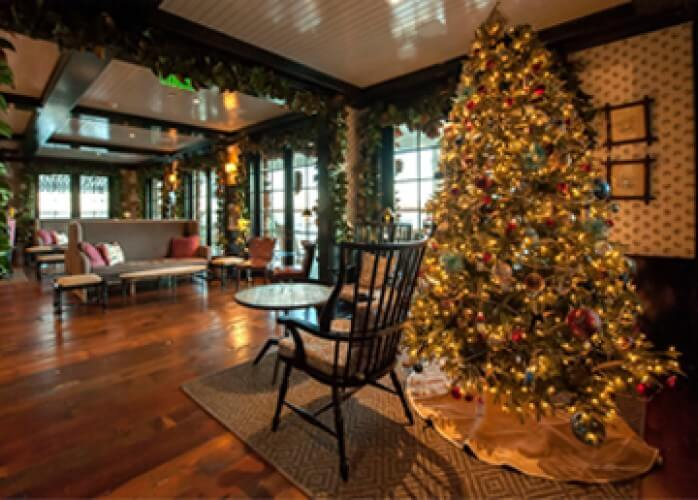 barons cove lobby decorated for christmas