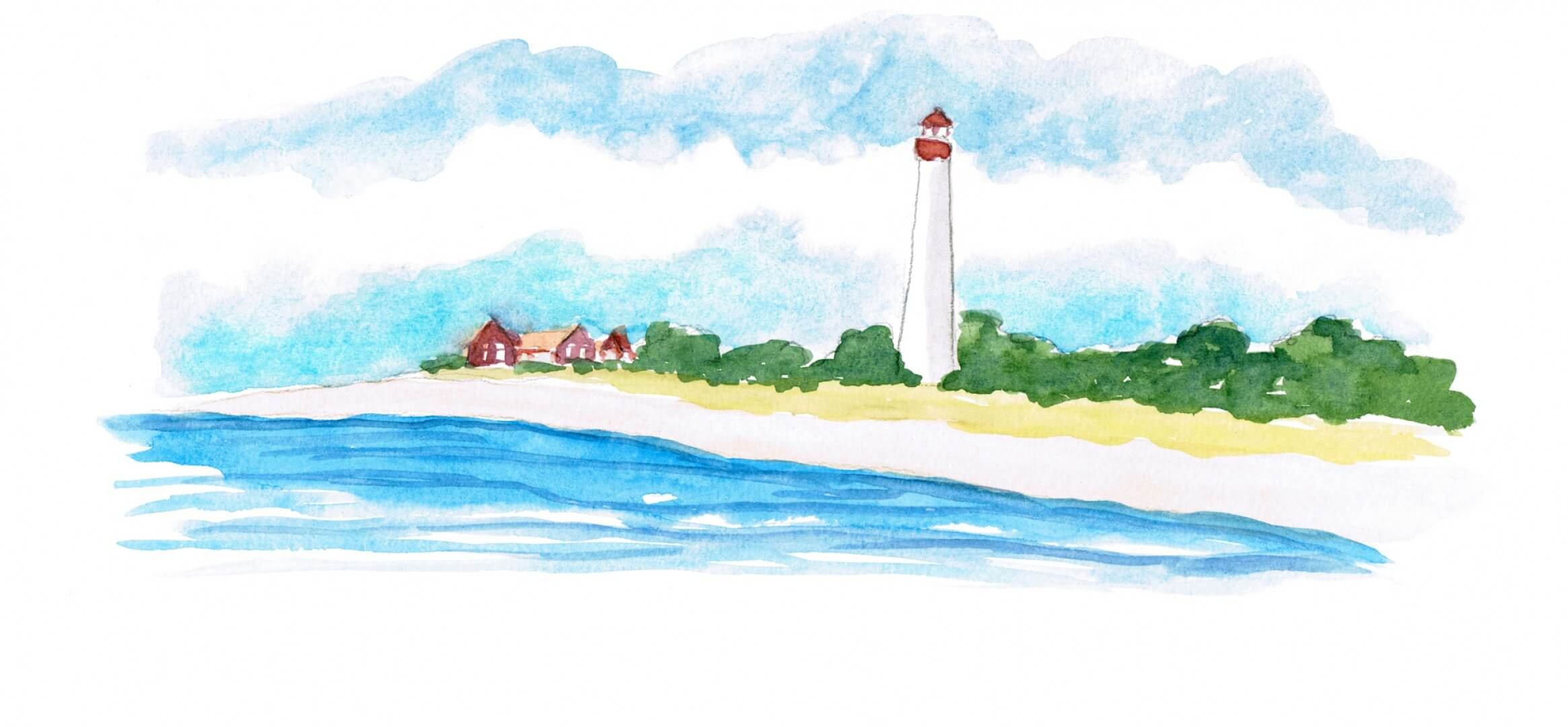 watercolor of a beach and lighthouse