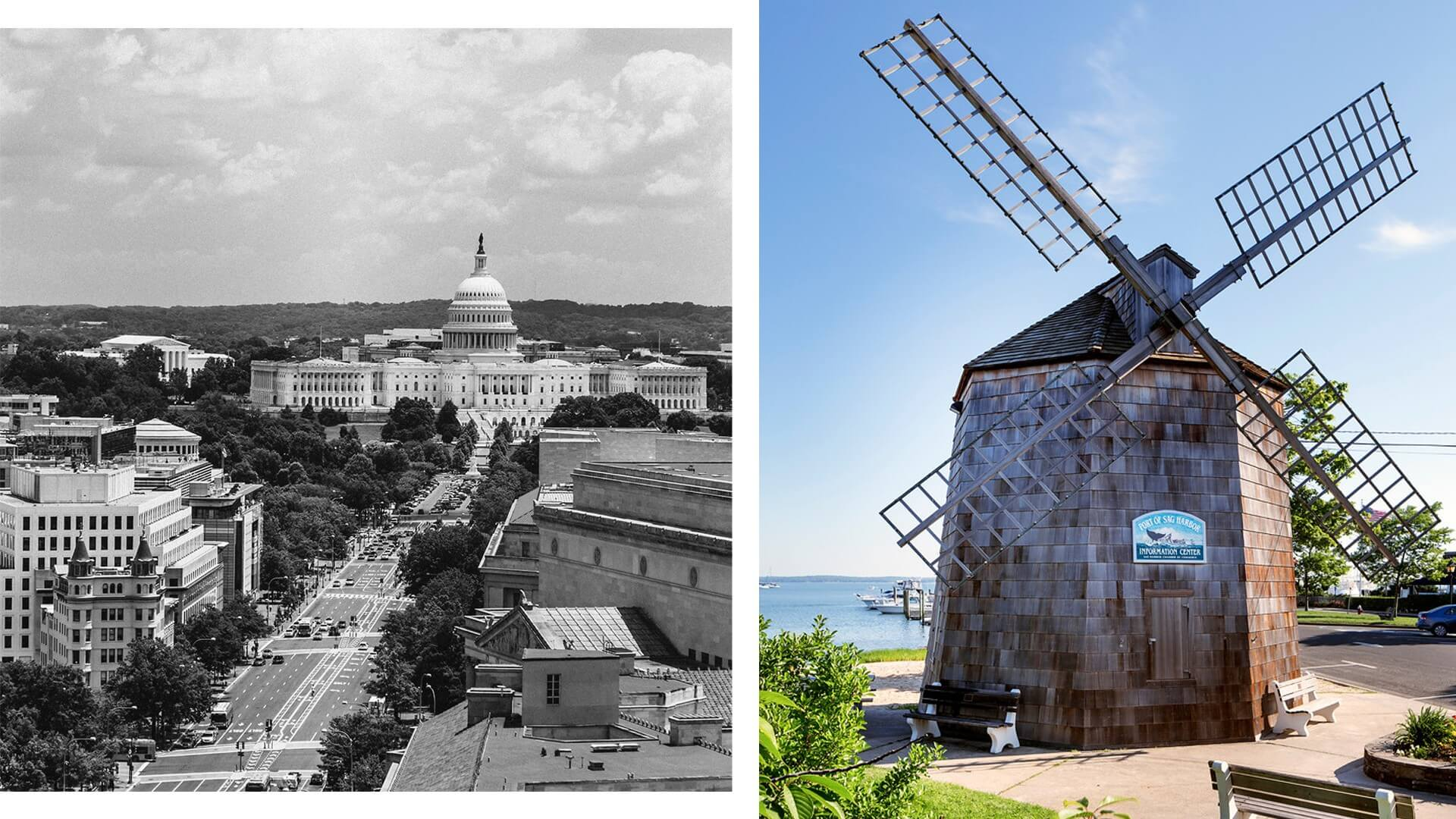 collage of the capitol building in Washington DC with the Sag Harbor windmill
