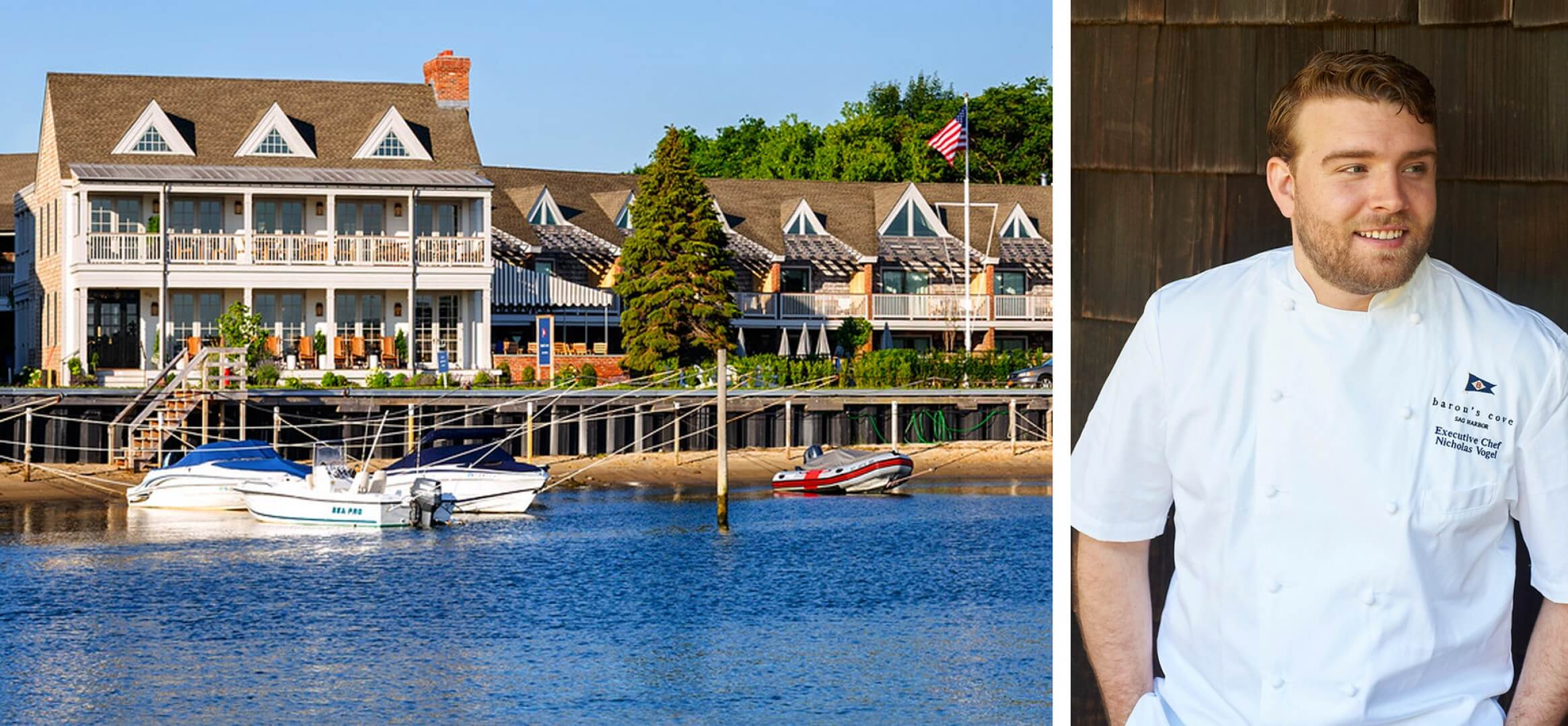 collage of baron's cove and picture of chef Nicholas