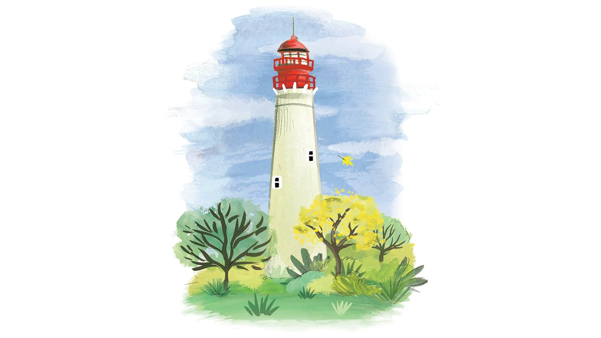 watercolor of the cape may lighthouse