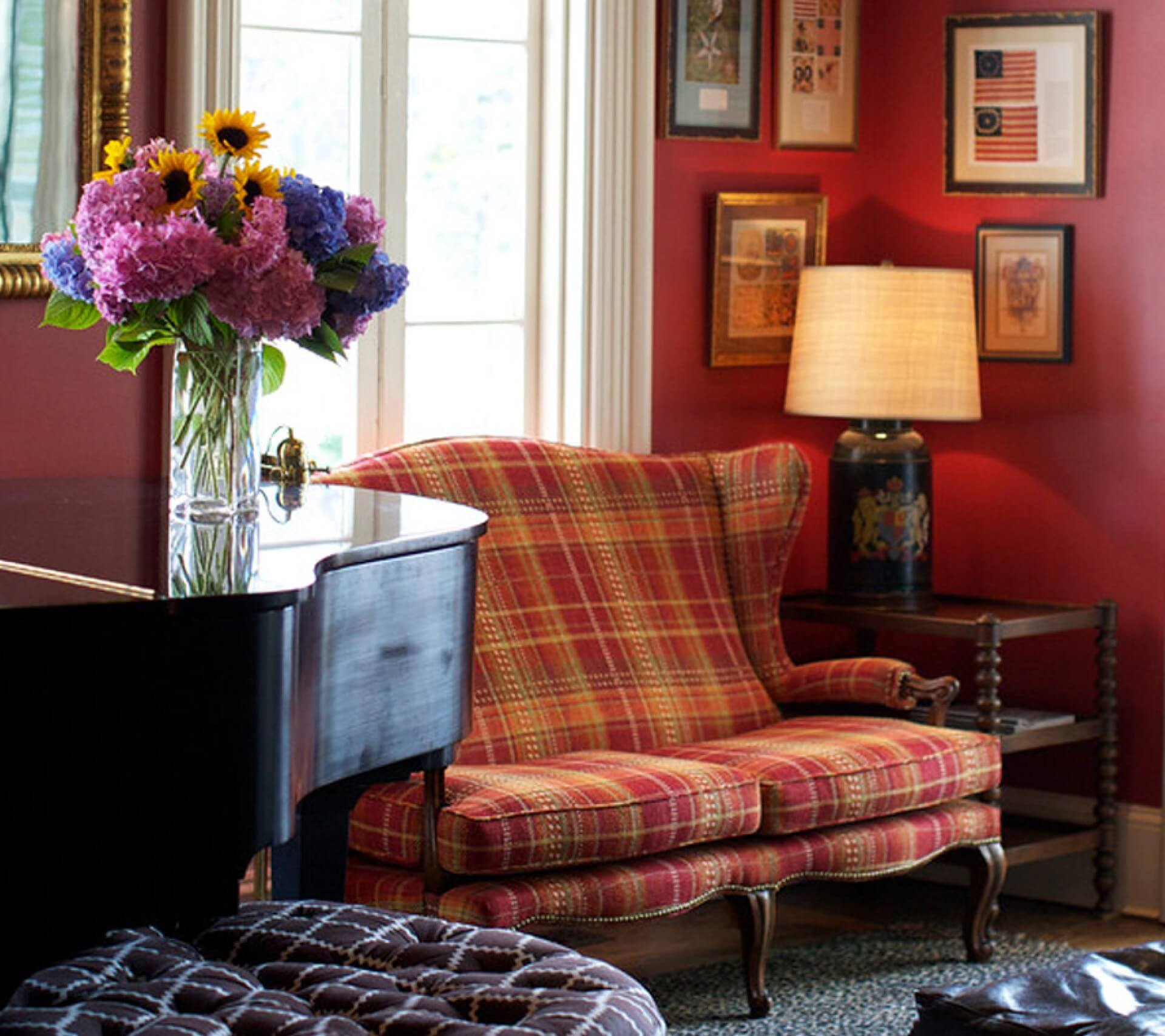 couch and sitting area at the ebbitt room