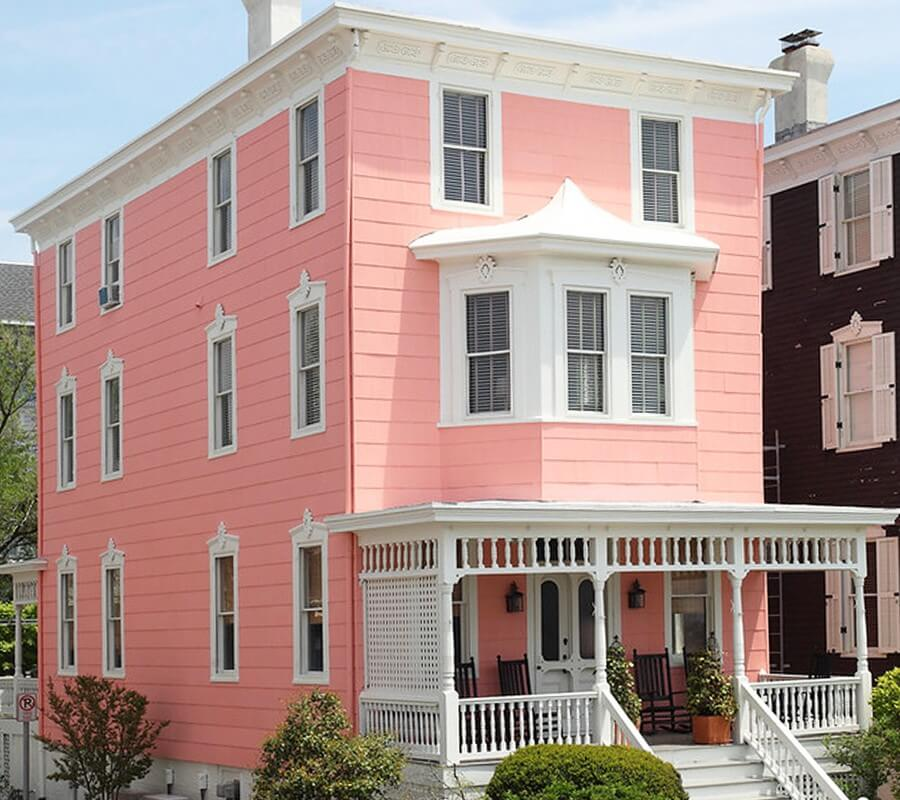 pink-painted cottage