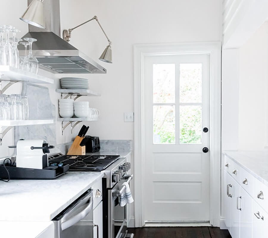 galley kitchen stove