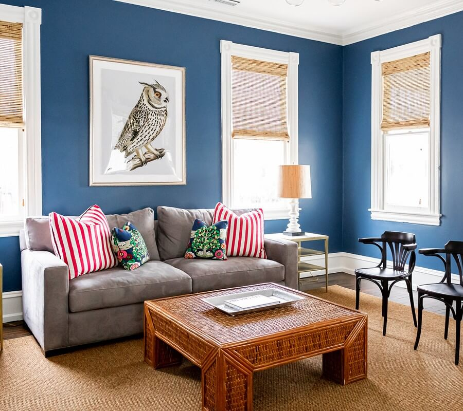 blue living room with couch