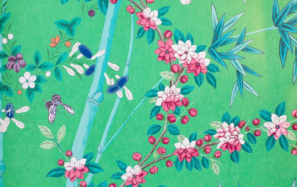 bright green floral wallpaper